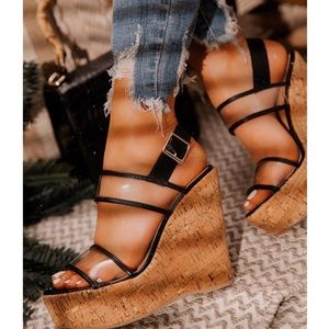 Shoes - Clear Double Band Cork Wedge